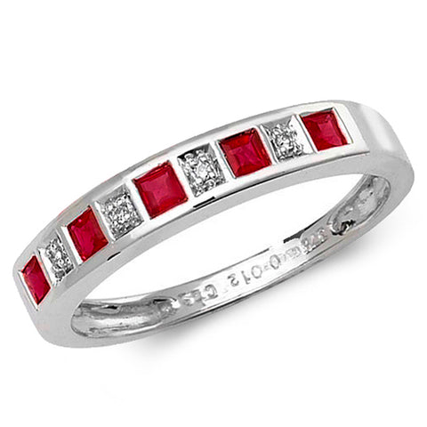 9CT WHITE GOLD PRINCESS CUT RUBY & DIAMOND CHANNEL SET HALF ETERNITY RING