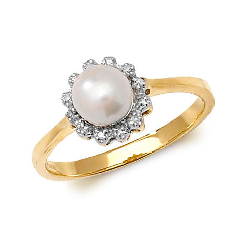 9CT GOLD FRESHWATER PEARL & DIAMOND CLUSTER RING