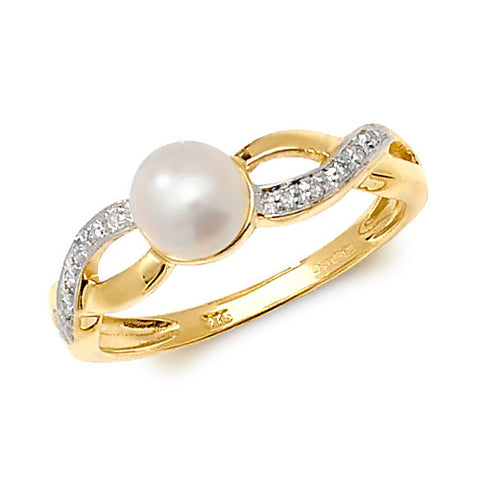 9CT GOLD FRESHWATER PEARL & DIAMOND CROSSOVER RING