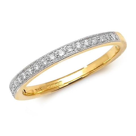 9CT GOLD GRAIN SET DIAMOND HALF ETERNITY BAND