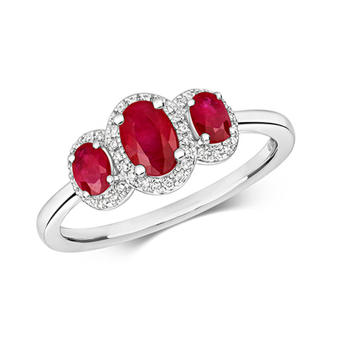 9CT WHITE GOLD OVAL RUBY & DIAMOND TRILOGY CLUSTER RING