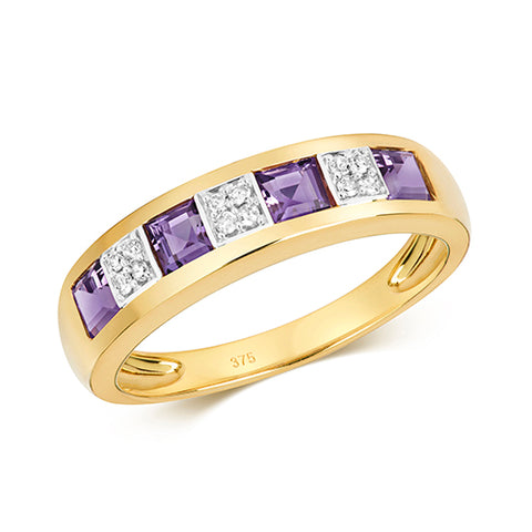 9CT GOLD PRINCESS CUT AMETHYST & DIAMOND HALF ETERNITY BAND