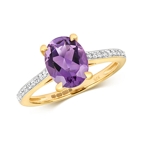 9CT GOLD OVAL CUT AMETHYST & DIAMOND RING