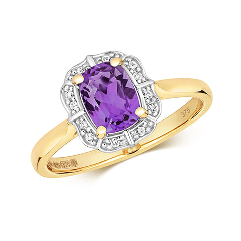 9CT GOLD VINTAGE STYLE CUSHION CUT AMETHYST & DIAMOND RING