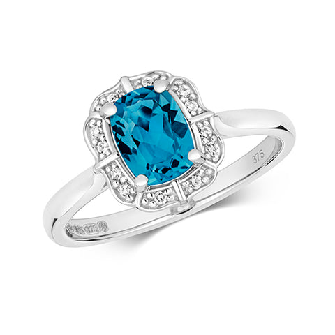 9CT WHITE GOLD VINTAGE STYLE CUSHION CUT LONDON BLUE TOPAZ & DIAMOND RING
