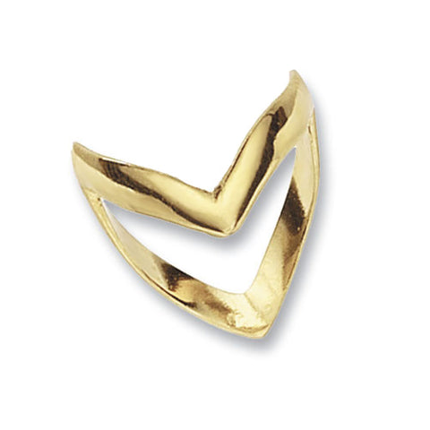 9CT GOLD DEEP DOUBLE WISHBONE RING