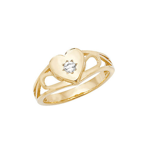 9CT YELLOW GOLD BABIES CUBIC ZIRCONIA HEART SIGNET RING