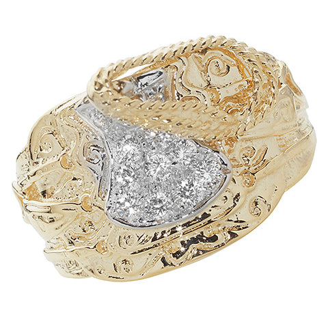 9CT YELLOW GOLD CUBIC ZIRCONIA SET SADDLE RING