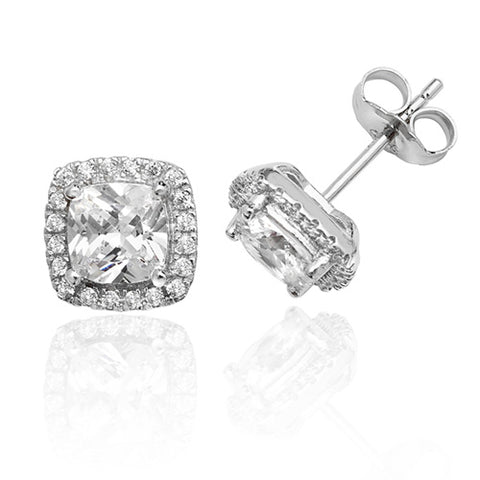 RHODIUM PLATED SILVER CUSHION CUT CUBIC ZIRCONIA HALO STUDS