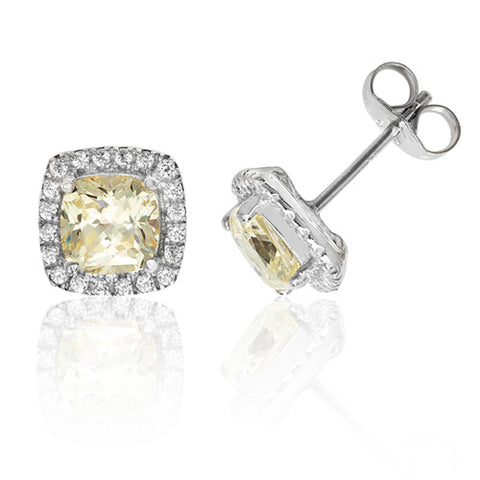 RHODIUM PLATED SILVER CUSHION CUT CHAMPAGNE CUBIC ZIRCONIA HALO STUDS