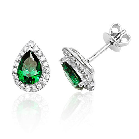 RHODIUM PLATED SILVER PEAR CUT GREEN CUBIC ZIRCONIA HALO STUDS