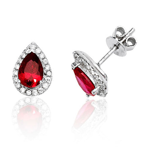 RHODIUM PLATED SILVER PEAR CUT RED CUBIC ZIRCONIA HALO STUDS