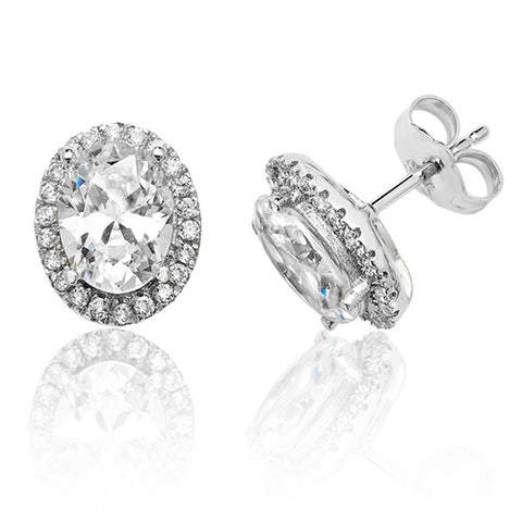 RHODIUM PLATED SILVER OVAL CLEAR CUBIC ZIRCONIA HALO STUDS