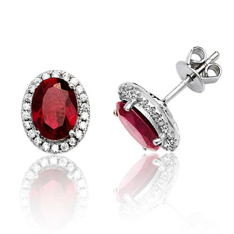 RHODIUM PLATED SILVER OVAL CUT RED CUBIC ZIRCONIA HALO STUDS