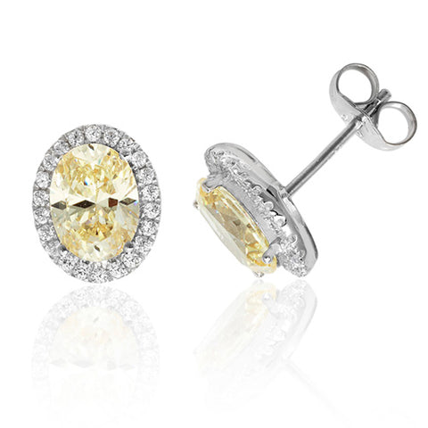 RHODIUM PLATED SILVER OVAL CHAMPAGNE CUBIC ZIRCONIA HALO STUDS