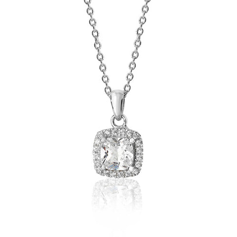 RHODIUM PLATED SILVER CLAW SET CUSHION HALO STYLE CUBIC ZIRCONIA NECKLACE