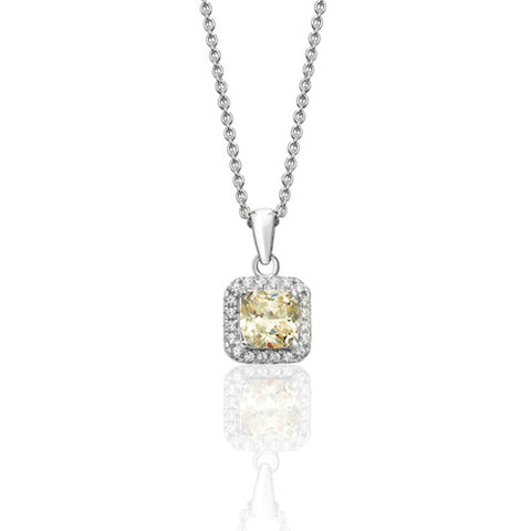 RHODIUM PLATED SILVER CLAW SET CUSHION HALO STYLE  CHAMPAGNE CUBIC ZIRCONIA NECKLACE