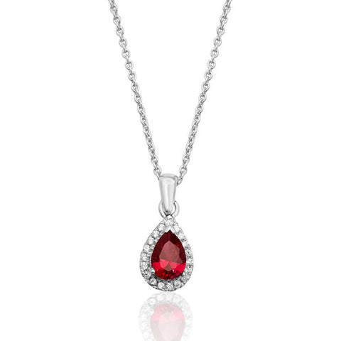 RHODIUM PLATED SILVER PEAR CUT RED CUBIC ZIRCONIA HALO NECKLACE