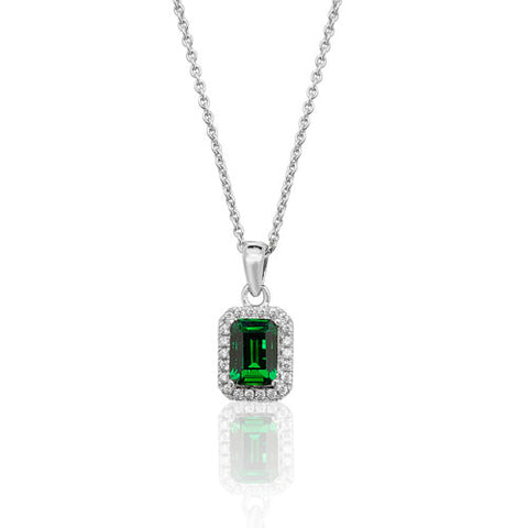 RHODIUM PLATED SILVER EMERALD CUT GREEN CUBIC ZIRCONIA HALO PENDANT