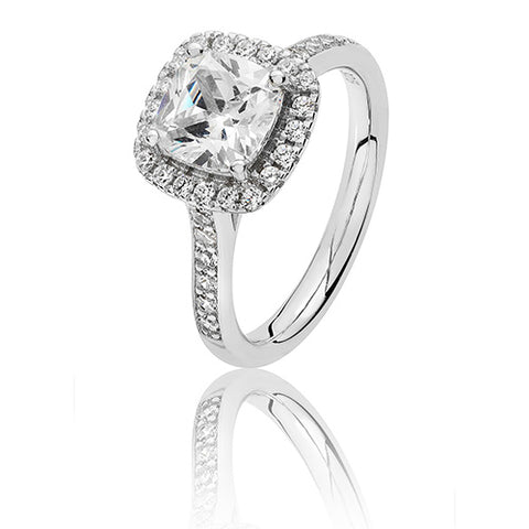 RHODIUM PLATED SILVER CLAW SET CUSHION HALO STYLE CUBIC ZIRCONIA RING