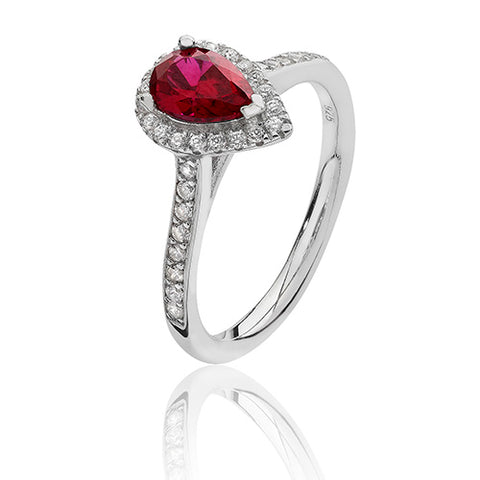 RHODIUM PLATED SILVER PEAR CUT RED CUBIC ZIRCONIA HALO RING