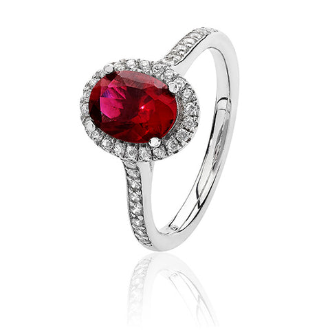 RHODIUM PLATED SILVER OVAL CUT RED CUBIC ZIRCONIA HALO RING