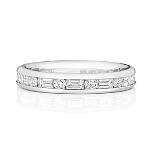 PLATINUM BAGUETTE & BRILLIANT CUT CHANNEL SET DIAMOND ETERNITY RING