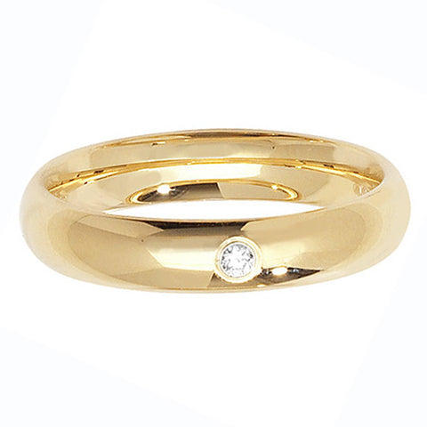 18CT GOLD SINGLE DIAMOND SET COURT WEDDING BAND