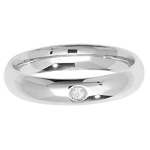 18CT WHITE GOLD 4MM COURT SINGLE DIAMOND WEDDING BAND