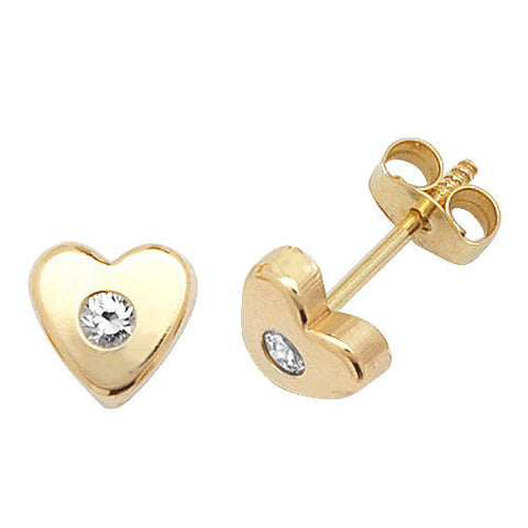 9CT GOLD HEART CUBIC ZIRCONIA STUDS