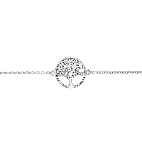 SILVER CUBIC ZIRCONIA SET TREE OF LIFE BRACELET