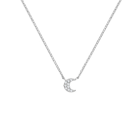 SILVER CUBIC ZIRCONIA SET CRESCENT MOON NECKLACE