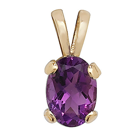 9CT GOLD OVAL AMETHYST PENDANT