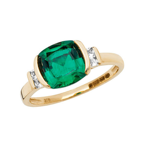 9CT GOLD CUSHION CUT CREATED EMERALD & WHITE SAPPHIRE RING