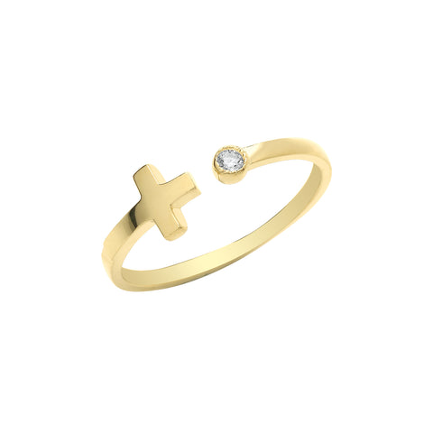 9CT GOLD CUBIC ZIRCONIA SET OPEN CROSS RING