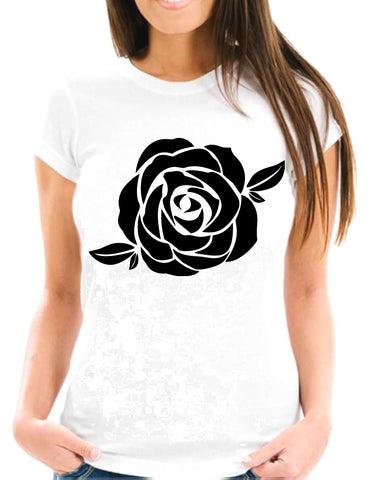 FLOR - 9 -  Black Flower Two Short-Sleeve T-Shirt