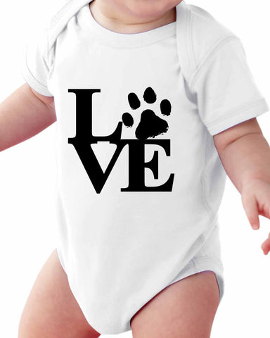 LOVE Paw Print  (Pet) Baby Short Sleeve Bodysuits