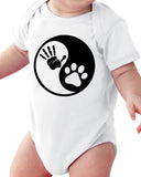 Yin Yang Dog And Baby (Pet) Baby Short Sleeve Bodysuits