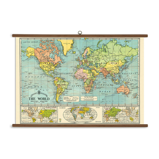 Vintage Style World Map Chart