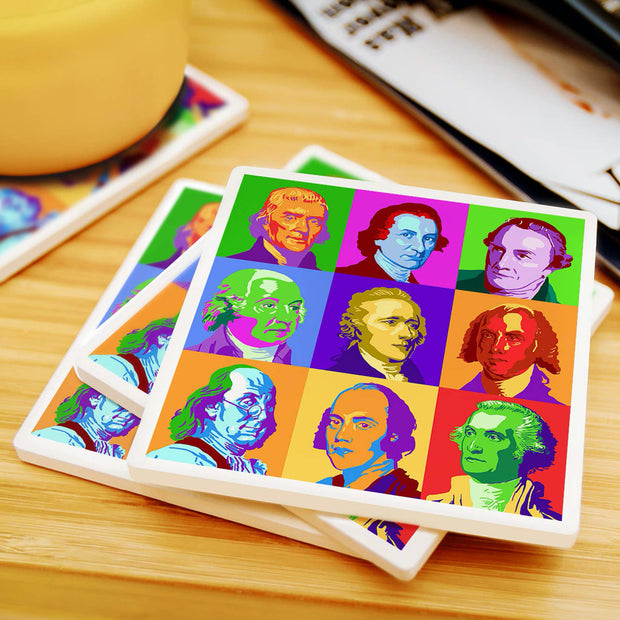 The Founder Fathers Pop Art Coaster Set