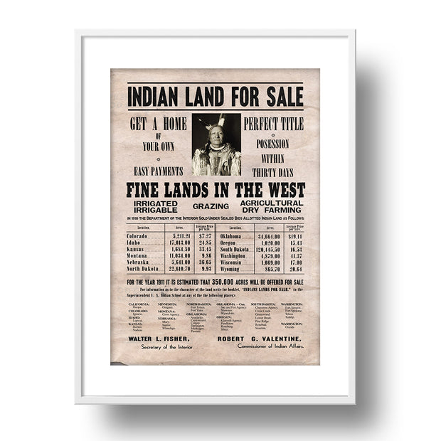Indian Land For Sale Classic Poster