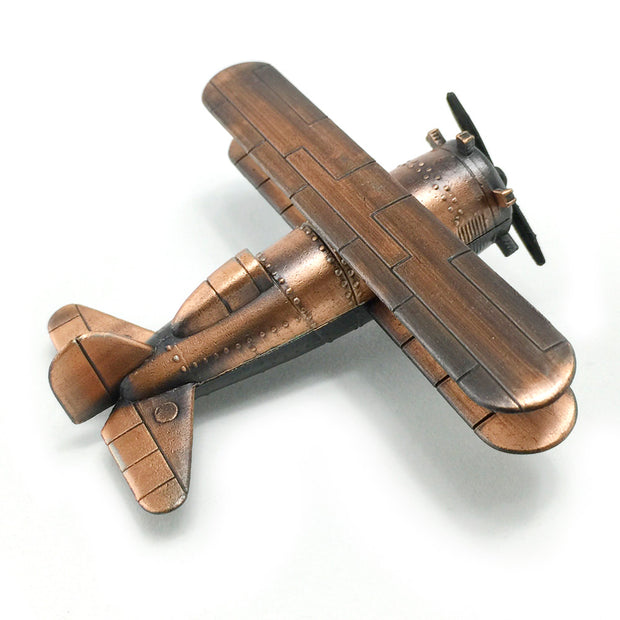 Vintage Style Bronze Die Cast Bi-Plane Sharpener With Free Franklin Pencil