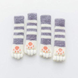 Cute Cat Paw Socks (4 Pack) - [Restocked] - Grey Striped