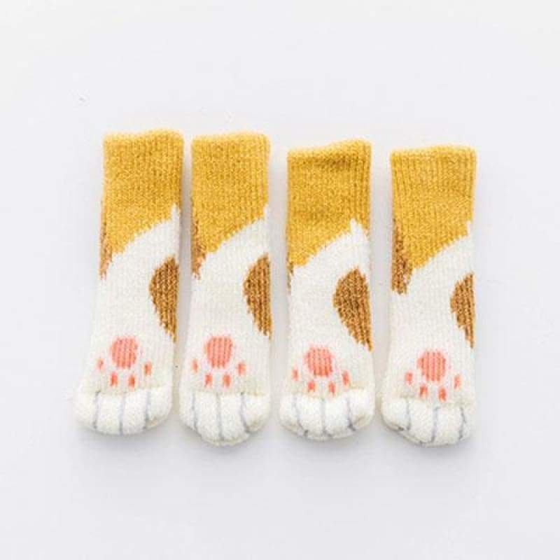 Cute Cat Paw Socks (4 Pack) - [Restocked] - Orange Spotted