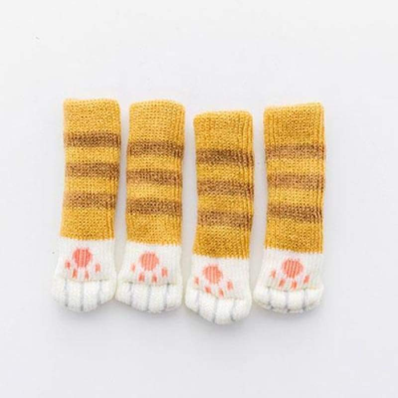 Cute Cat Paw Socks (4 Pack) - [Restocked] - Yellow Striped