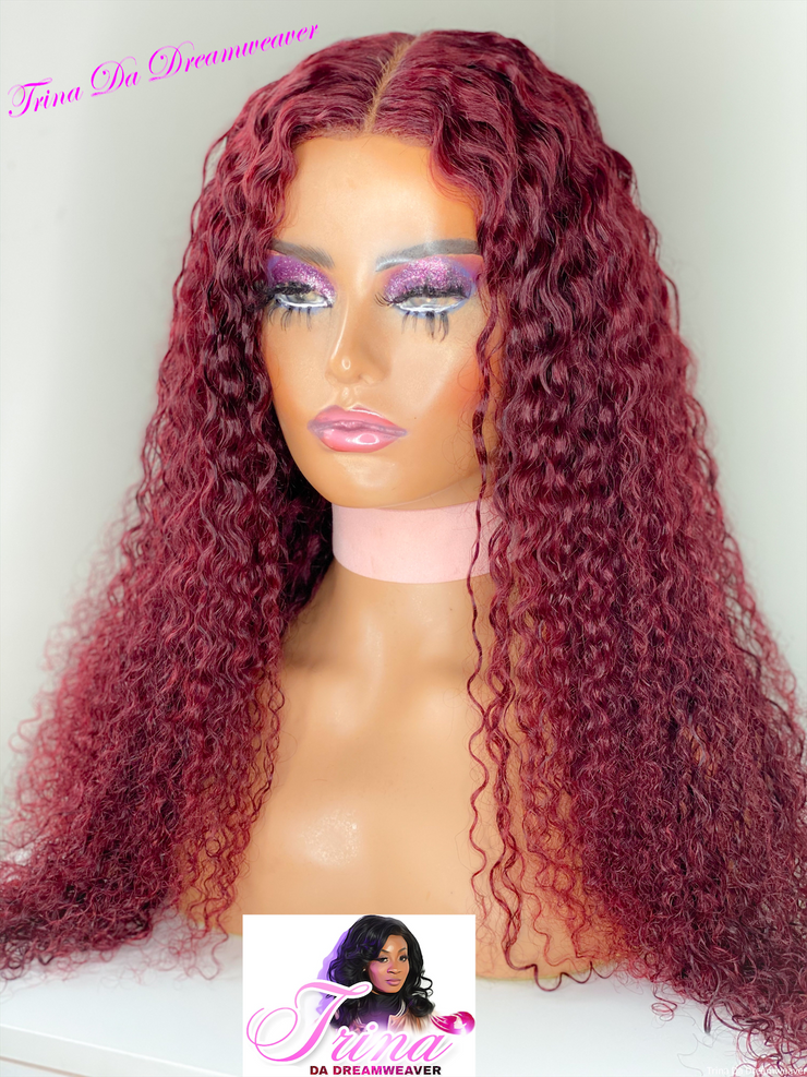 HD lace front Burgundy deep wave