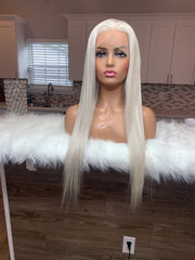 22-inch 180% density Raw Straight Ash Blonde Lace Front Wig
