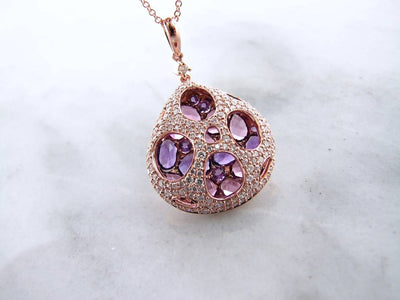 14k-rose-gold-diamond-garnet-amethyst-necklace-wexford-jewelers