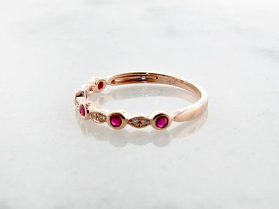 Rose Gold Diamond Milgrain Ruby Stacking Ring, Tempo