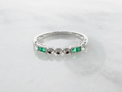 Emerald Diamond Band White Gold Stacking Ring, Diadem